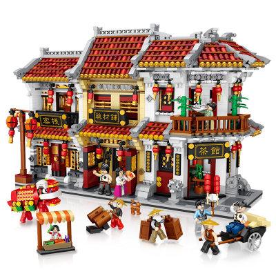 LOZ/俐智 中华街大型拼装积木客栈模型迷你积木玩具宝芝林国潮礼物