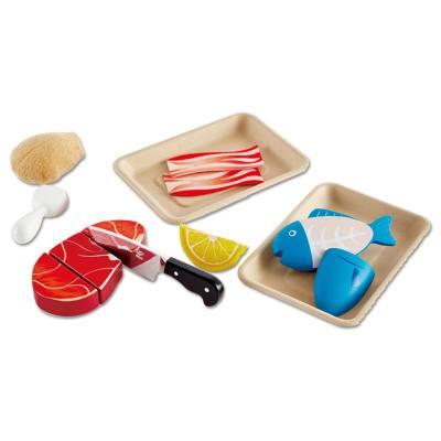 德国Hape 肉食营养联盟切切乐玩具 儿童过家家套装厨房木制木质男女孩