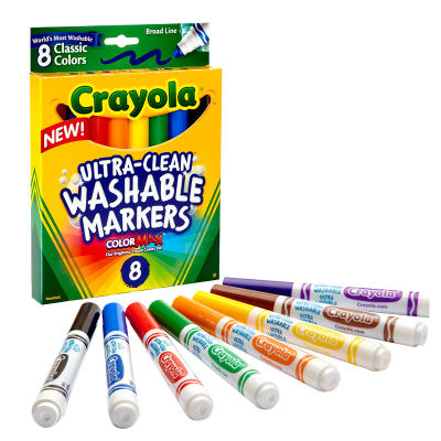 美国 Crayola/绘儿乐8色可水洗水彩笔 粗头/细头(经典色)儿童画笔