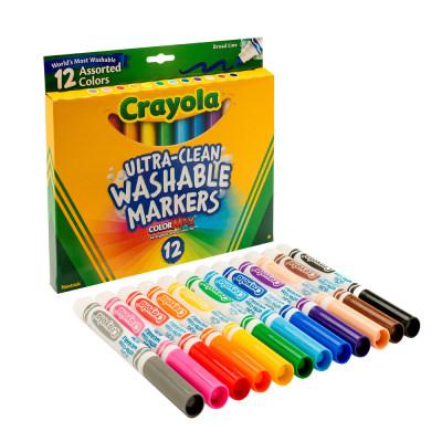美国 Crayola/绘儿乐 12色可水洗 粗头/细头 水彩笔 儿童画笔