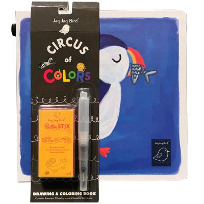 美国 Jaq Jaq Bird 儿童便携画纸旅行玩具小画板无尘粉笔水晕染套装内芯