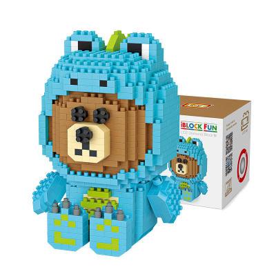 LOZ/俐智 小颗粒钻石积木小熊造型玩具DIY拼插积木恐龙装扮立体拼图