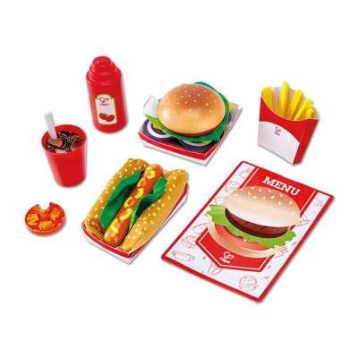 德国Hape 速食套装仿真汉堡食物薯条水果蔬菜食品肯德基幼儿园美食快餐