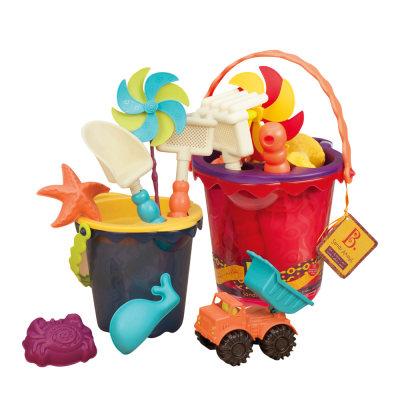 北美 B.Toys/比乐 儿童中型沙滩桶夏日海边宝宝玩沙工具套装玩具