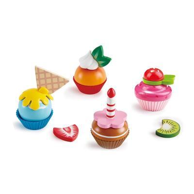 德国Hape 缤纷纸杯蛋糕套 儿童过家家厨房玩具益智男女孩木制套装3岁+