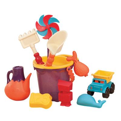 北美 B.Toys/比乐 儿童沙滩玩具套装 收纳袋玩沙子挖沙铲子桶宝宝戏水玩具